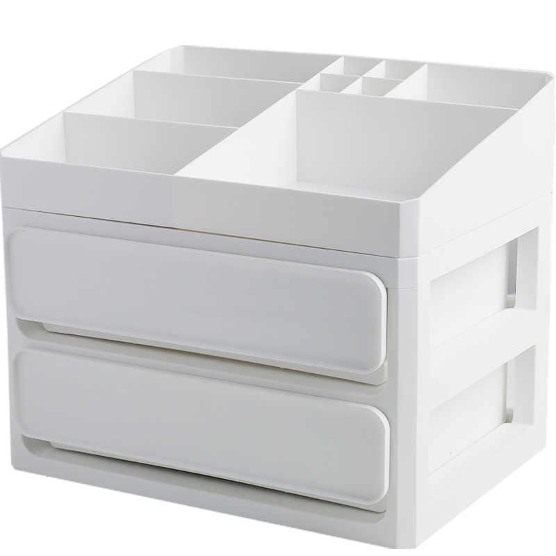 สแกนดิเนเวียนพลาสติกสีขาวสีเทาลิ้นชักเก็บเดสก์ท็อป Sundries กล่องเครื่องสำอางค์คอนเทนเนอร์แต่งหน้า Home Decor