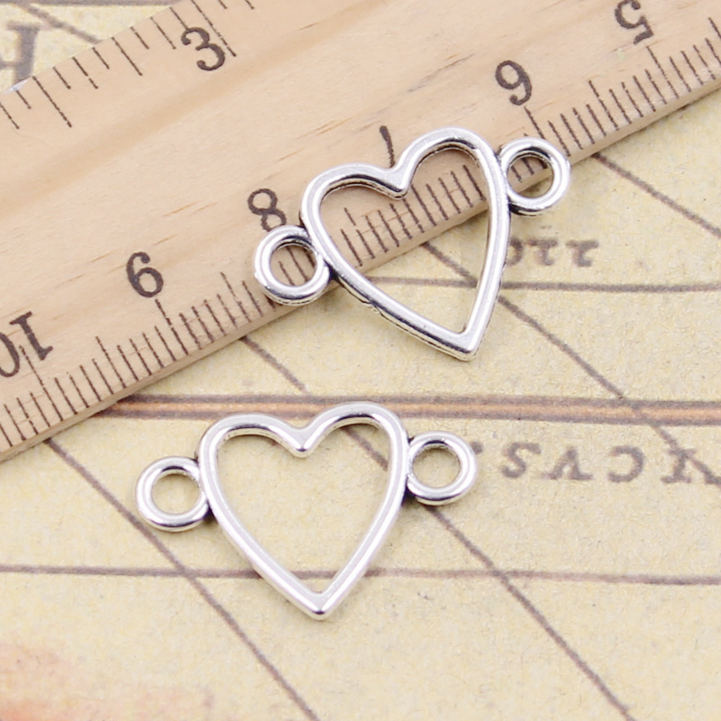 10pcs-Pendant Link Connector Leaf Antique Bronze Charm Double Sided.