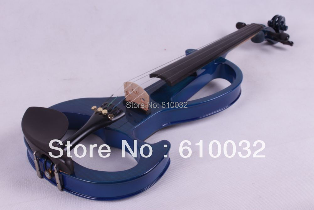 4/4 Electric Violin Solid wood 6 --18# silvery  dark blue   color   4 string 4 4 electric violin solid wood 4 1 silvery blue red color 4 string