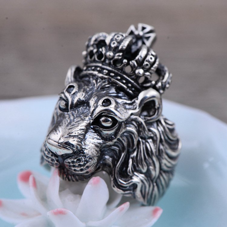 100% Genuine 925 Sterling Silver Retro Men Male Animal Crown Lion Ring Thai Silver Fine Jewelry Gift Finger Ring CH057812 the vampire diaries vampire knight crown ring jewelry gift men s ring gift jewelry 925 sterling silver ring