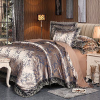 MECEROCK 2017 New Euro Style Tencel Jacquard Bedding Set Lace Comforter Cover Blanket Cover Flat Sheet
