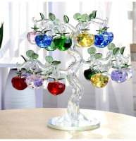 Glass Crystal Apple Tree with 18pcs Apples Fengshui Crafts Home Decor Figurines Christmas New Year Gift Souvenir Decor Ornaments