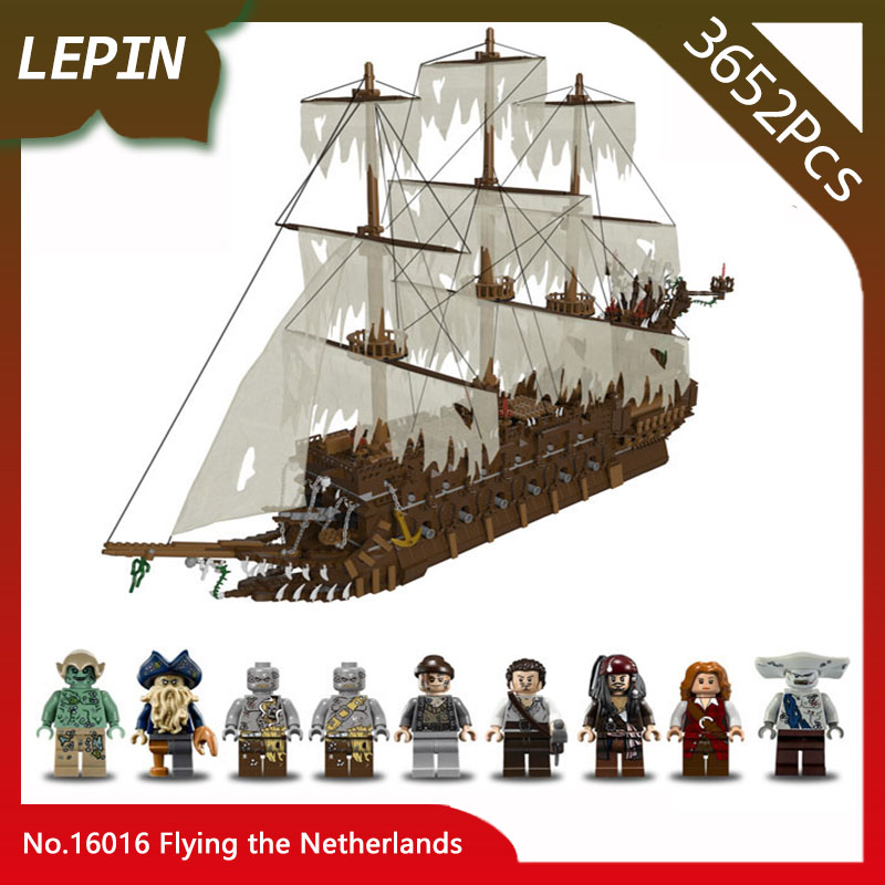 Lepin 16016 Flying the Netherlands Model 3652Pcs Moive Series Building Blocks Bricks Toys For Children with Pirates Caribbean new lepin 16009 1151pcs queen anne s revenge pirates of the caribbean building blocks set compatible legoed with 4195 children