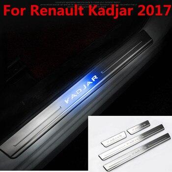 Style de voiture en acier inoxydable de haute qualité pour Renault Kadjar 2017 led protecteur de seuil de porte automatique