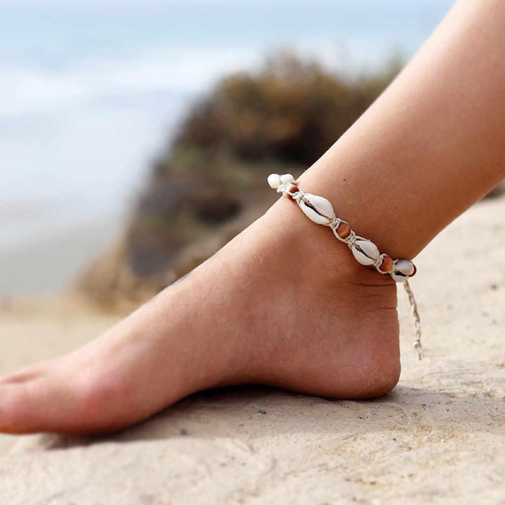 Bohemian Sea Shell Conch ข้อเท้าสำหรับผู้หญิงข้อเท้าสร้อยข้อมือขา Silver Gold Shell ลูกปัดโซ่ข้อเท้าเครื่องประดับ