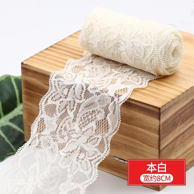 HTB1FuqIbtjvK1RjSspiq6AEqXXaG 8cm Spandex Lace Elastic Crafts Sewing Ribbon White Black Stretch Lace Trimming Fabric Knitting Material DIY Garment Accessories
