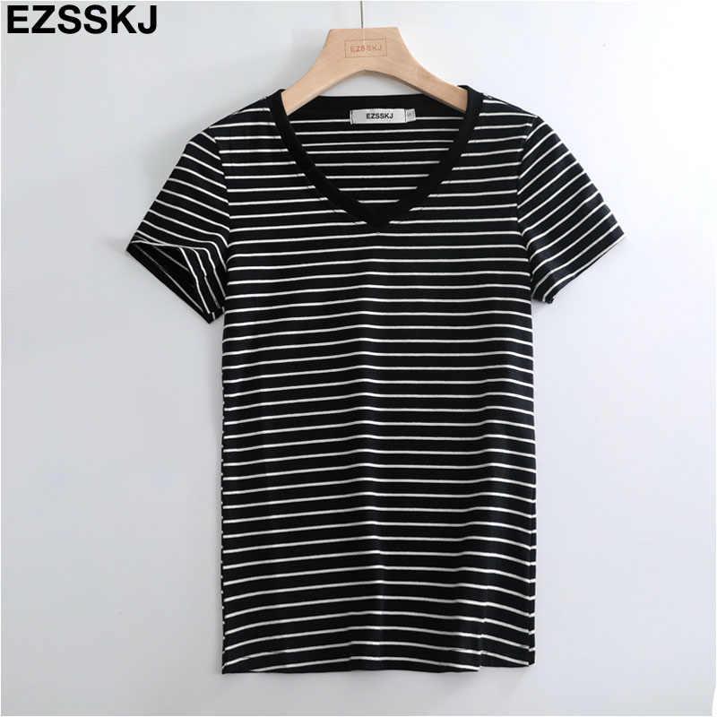 Повседневная полосатая Женская хлопковая футболка большие размеры, S-3XL с короткими рукавами большой размер летняя футболка с v-образным вырезом Высококачественная женская футболка