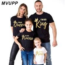 MVUPP/Одинаковая одежда для всей семьи футболка «король», «Королева» Одежда для папы, мамы, дочки и сына, «Мама и я», «Корона»