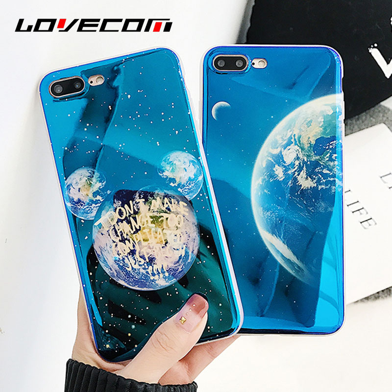 LOVECOM Glossy Blue Ray Planets Moon Stars Phone Case For iphone X 8 7 6 6S Plus Soft IMD Phone Cover Cases Fundas Coque Shells