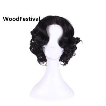 WoodFestival Short Curly Synthetic Hair Wigs Women Princess Snow White Cosplay Wig Heat Resistant Black Blonde Brown Burgundy wignee hand made front ombre color long blonde synthetic wigs for black white women heat resistant middle part cosplay hair wig