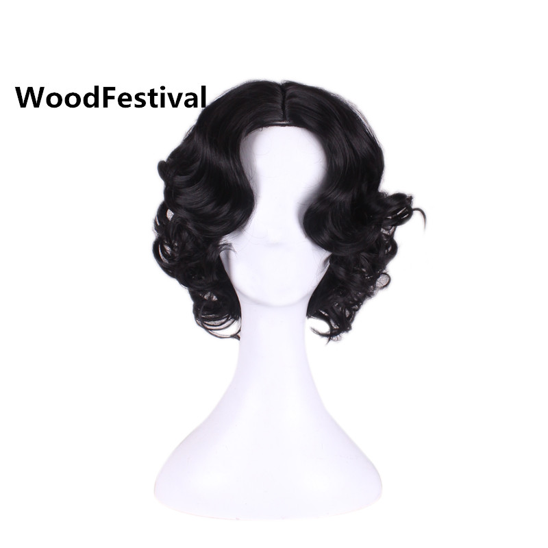 WoodFestival Snow White Princess Women Short Cosplay Wig Black Curly High Temperature Fiber Heat Resistant Synthetic Wigs