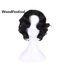 Woodfestivalショートカーリー人工毛ウィッグ女性プリンセス白雪姫コスプレウィッグ耐熱ブラウンブラックブロンドブルゴーニュ