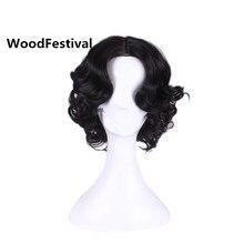 Снег белый принцесса парик вьющихся волос жаропрочных синтетические парики для женщин короткий черный парик костюм парики хэллоуин WoodFestival