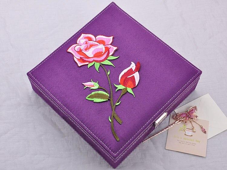 Brodé rose fleur boîte à bijoux 2 couches avec clé bijoux cas rose velours Boîte Jewerly Organisateur Boîte