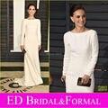 Natalie Portman 2015 satén blanco de manga larga vestido de noche at Vanity Fair Oscar Party Celebrity inspirado vestido de fiesta