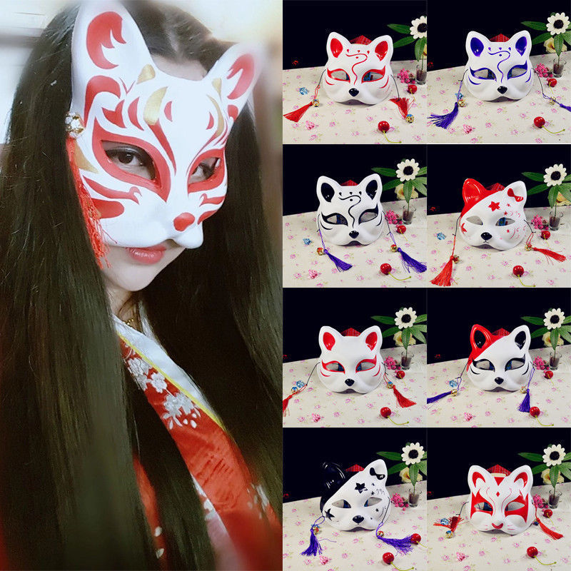 Fashion Anime Half Face Fox Mask Hand-painted Kitsune Halloween Party Cosplay 1pc