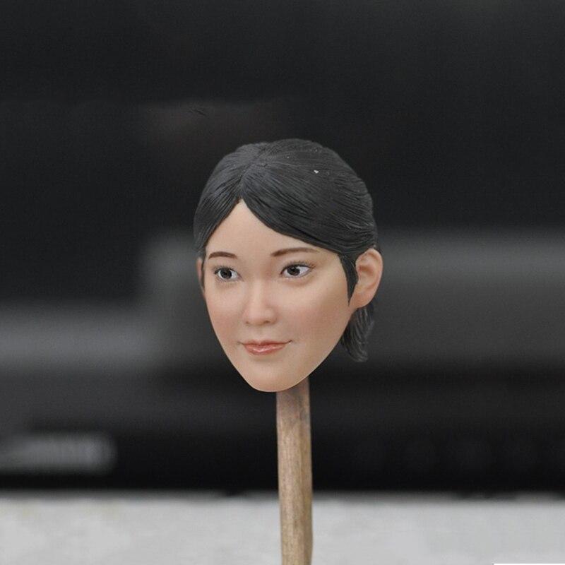 1/6 Asian Female Head Sculpt Short Black Hair Smilling Face for 12''Figures