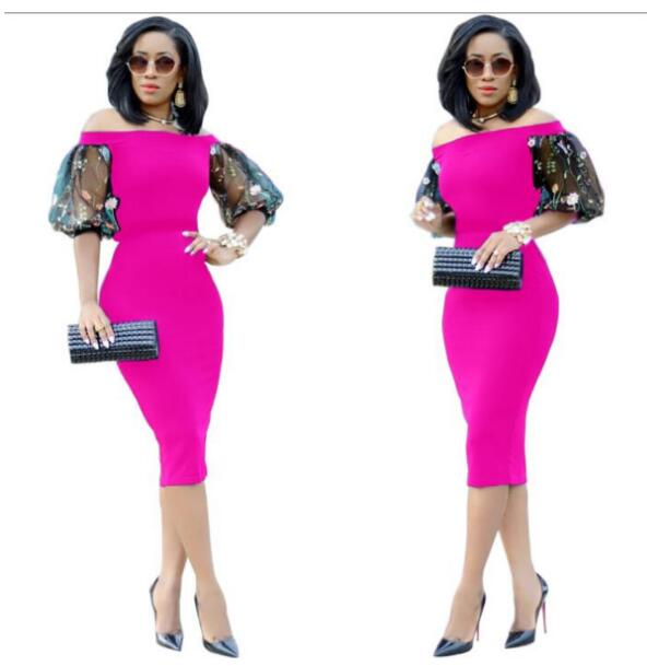 Women Pencil Dress Summer Elegant Slim Embroidery Floral Mesh Lantern Sleeve Off Shoulder Office Lady Style Bodycon Party Dres in Dresses from Women 39 s Clothing