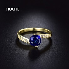HUCHE Irregular Prue Gold Color Wedding Ring For Women Pave With AAA Cubic Zircon Luxury Copper Fashion Jewelry For Gift HYJR128