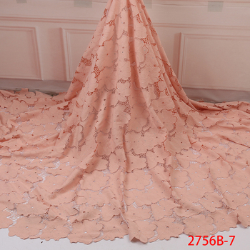 2019 Latest Nigerian Laces Fabrics High Quality African Laces Fabric for Wedding Dress French Tulle Lace with Beads QF2756B-7