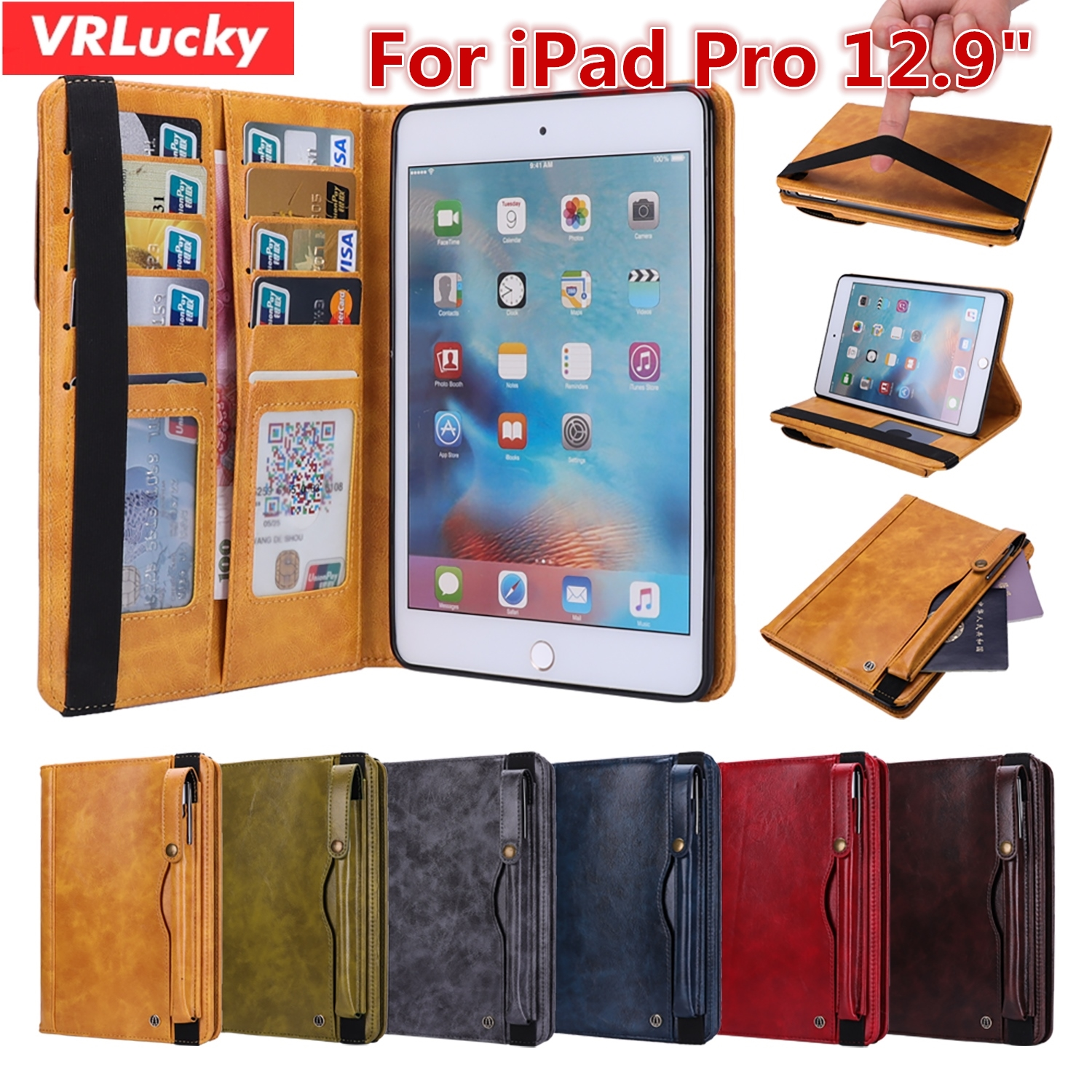 VRLucky Luxury Business Style Flip Cover With Pencil Holder Card Slots Quality PU Leather Case For Apple iPad Pro 12.9 inch for ipad pro 12 9 2017 2015 smart tablet case cover high quality genuine leather pu folding stand case card slots pencil holder