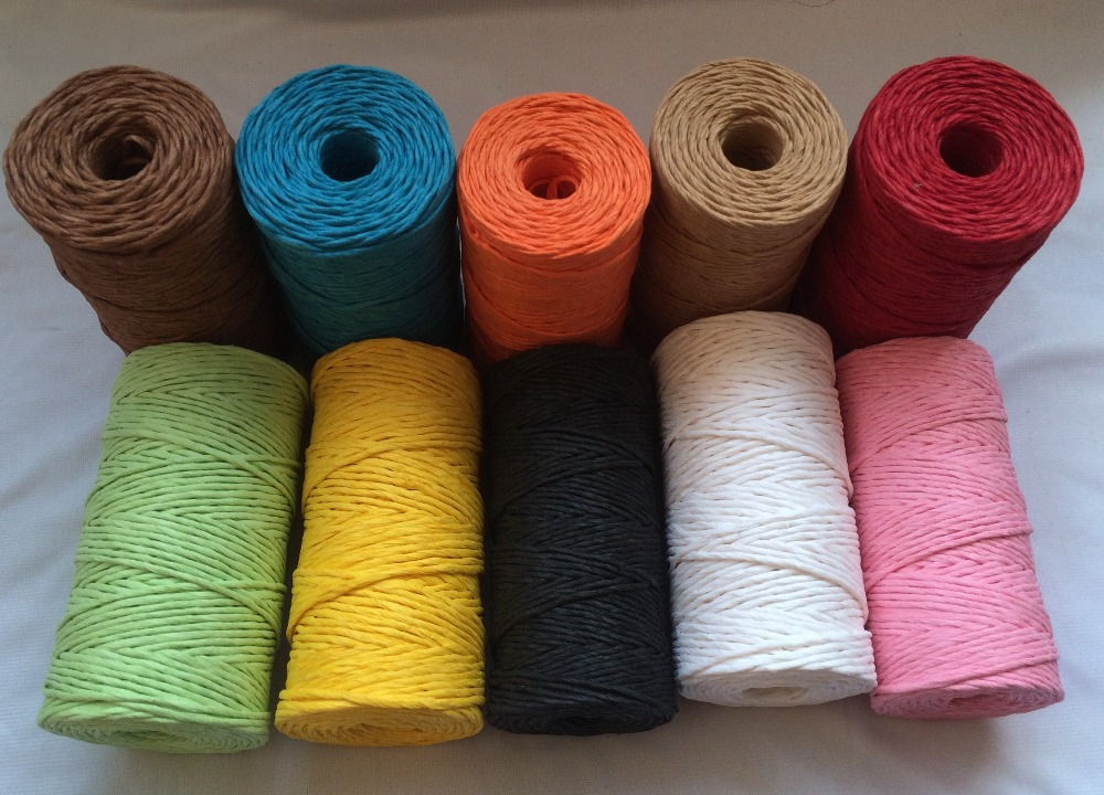1 piece) color paper rope,paper raffia twine, decorative paper twine 2mm 100yards/spool by EMS