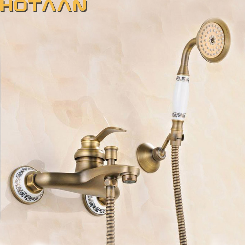 Free shipping  Bathroom Bath Tub Wall Mounted Hand Held Antique Brass Shower Head Kit Shower Faucet Sets YT-5340-B free shipping polished chrome finish new wall mounted waterfall bathroom bathtub handheld shower tap mixer faucet yt 5333