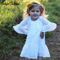 Baby Girls Dress 2018 Summer White Beach Lace Dress Ruffle Fly Sleeve Dresses For Kids Cute