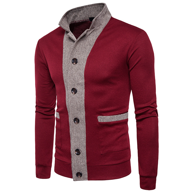 2019 Autumn Popular Men Casual Sweater Computer Knitted Single Breasted Men Fashion 2 Color Striped Patchwork Clothes S-XXL 318