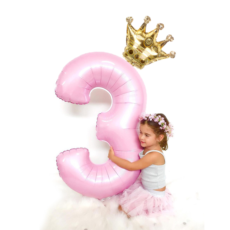 2pcs/lot 32inch Number Foil Balloons Digit air <font><b>Ballon</b></font> Kids Birthday Party Festival Party anniversary Crown Decor Supplies image