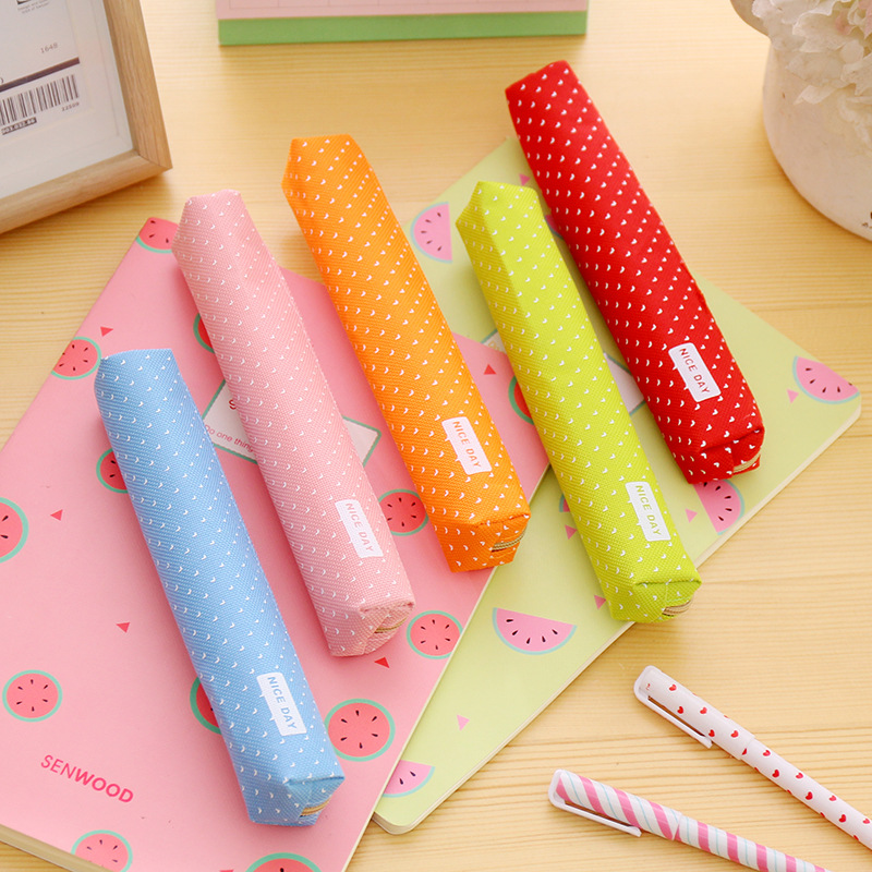 1 Pcs Cute Candy Color Pencil Case Kawaii Dot Canvas Pen Bag Stationery Pouch For Girls Gift Office School Supplies