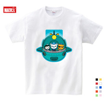 Girls Baby Clothes for Summer Submarine Penguins Cartoon Printing T Shirt Girls Summer Clothes Short White Cotton T-shirts 3T-9T