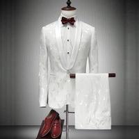 Mens Evening Suit Emcee Style Suit Groom Tuxedos Wedding Suits 2 Pcs (Jacket+Pants) Terno Masculino Costume Homme Men Suit 2018