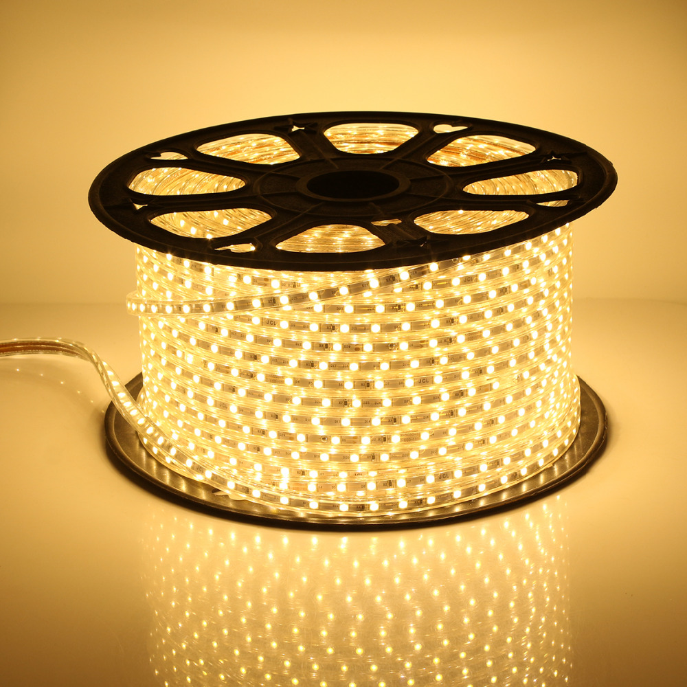30-100M 60 LEDs/ meter Warm White LED Strip Light Ultra Bright 5050 SMD LED Outdoor Garden Home Strip Rope Light Waterproof