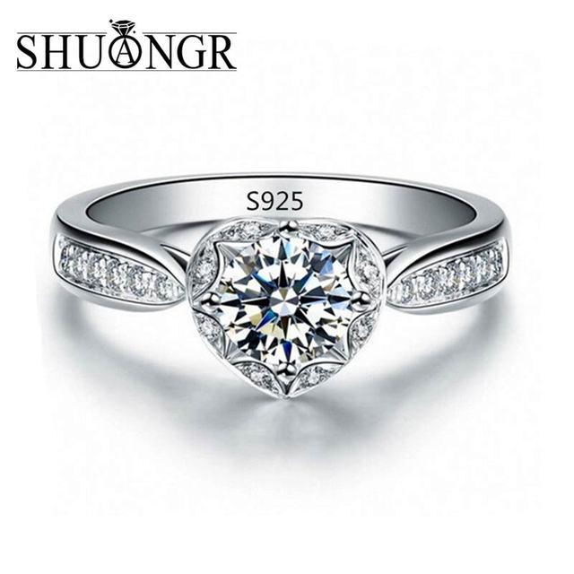SHUANGR Big Heart CZ Jewelry Engagement Wedding Rings For Women Silver-Color Bag