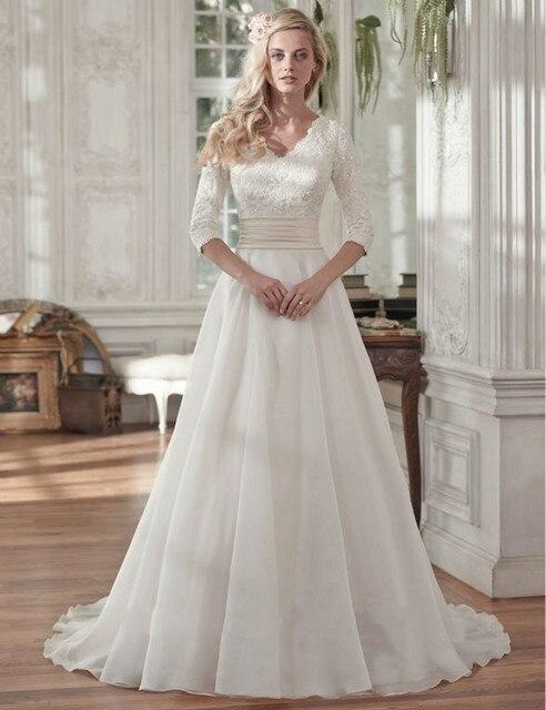 4118ccc5c99 2016 Simple Elegant Chiffon Wedding Dress Lace Half Sleeve Summer Beach  Bridal Gowns Cheap
