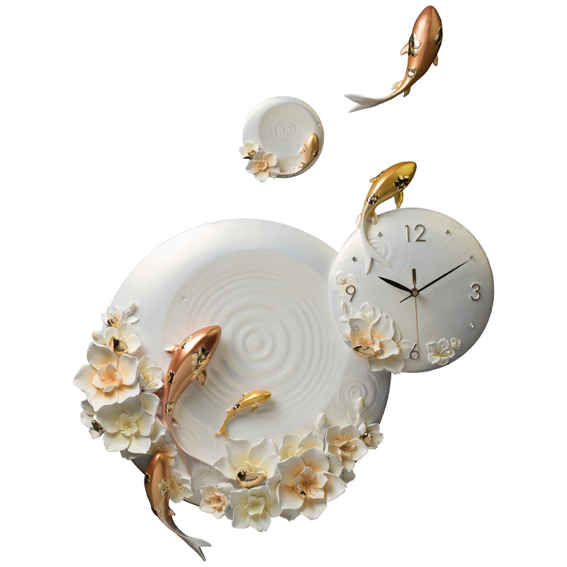 Modern Minimalist Luxury Embossed Fish Flower Home Wall Clock Resin Crafts Livingroom Silent Clock Decoration Wall Sticker R1534 image
