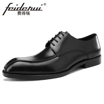 High Quality Genuine Leather Men's Footwear Square Toe Man Wedding Party Flats Luxury Formal Dress Handmade Derby Shoes BQL156