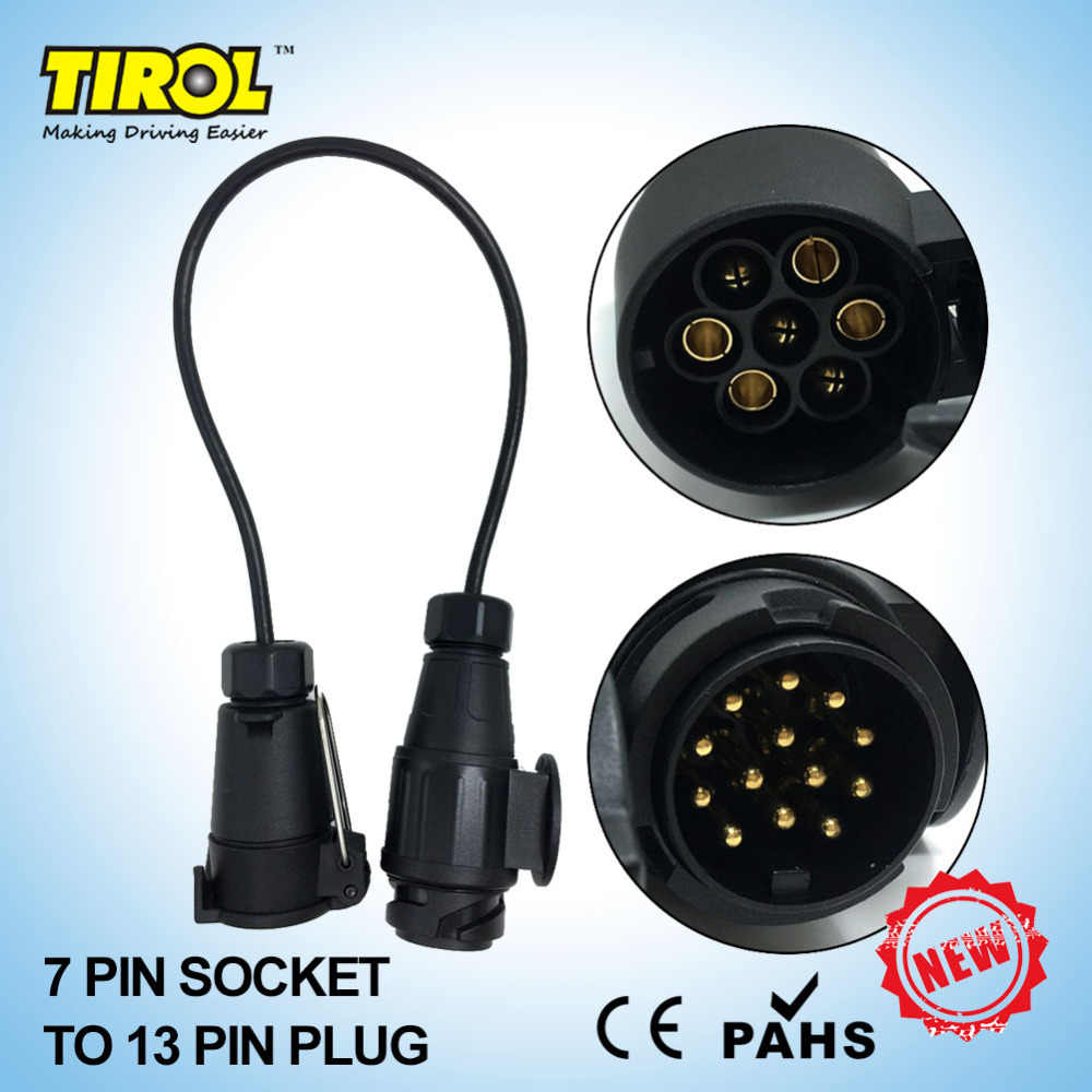 hight resolution of tirol new 7 to13 pin trailer with cable adapter wiring connector 12v towbar plug socket t22468b