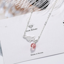 KOFSAC Cute/Romantic 925 Sterling Silver Cat Necklaces For Women Jewelry Charm Crystal Pink Necklace Girl Engagement Accessories