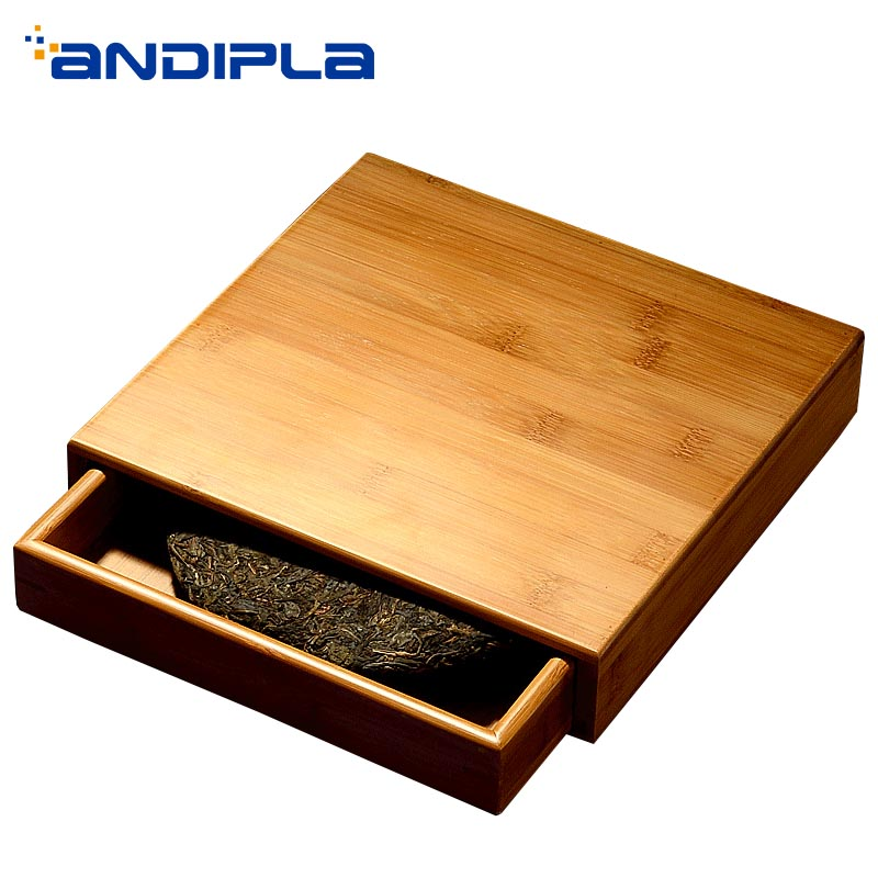Thé Pu'er boîte de rangement En Bambou Naturel Séparateur Carré Boîtes Pu'er Titulaire plateau d'étagère Tiroir Teaware Accessoires Outils Cartouche