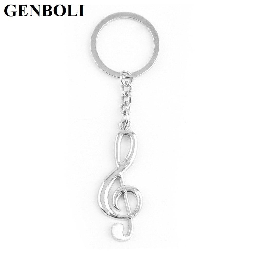 GENBOLI Silver Plated Fashion Unisex Metal Treble Clef Musical Icon Symbol Key Ring Key Chain Gift Fashion Accessories