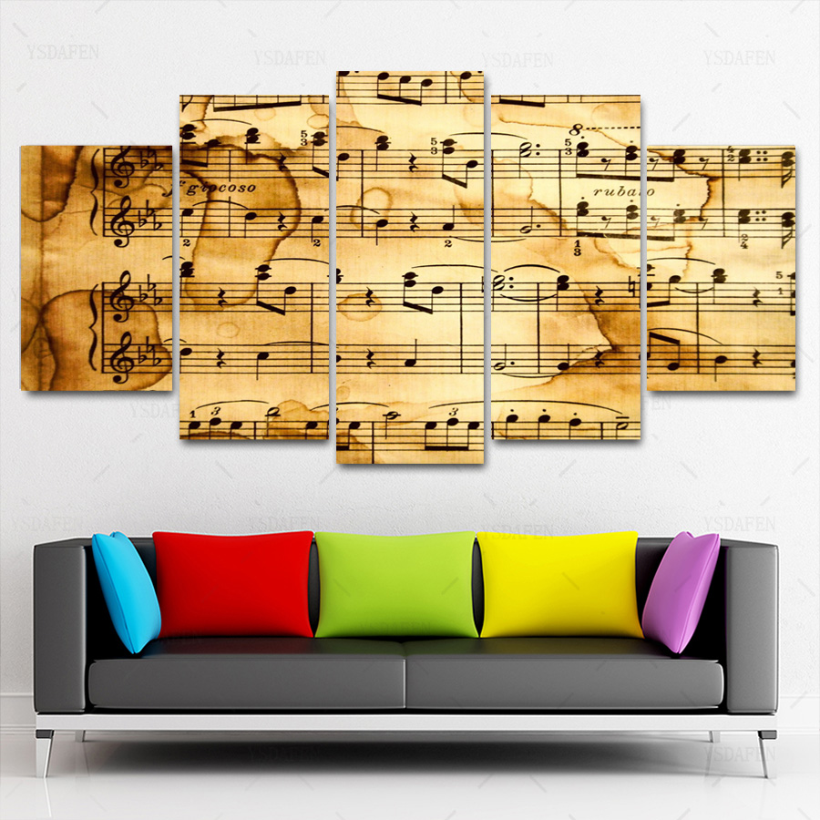 5 panels Printed artistic music notes picture modular painting on ...