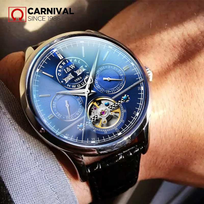 2018 CARNIVAL Tourbillon Business Automatic Mechanical Men Watch TopBrand Luxury Montre Stainless Steel waterproof Sport relogio