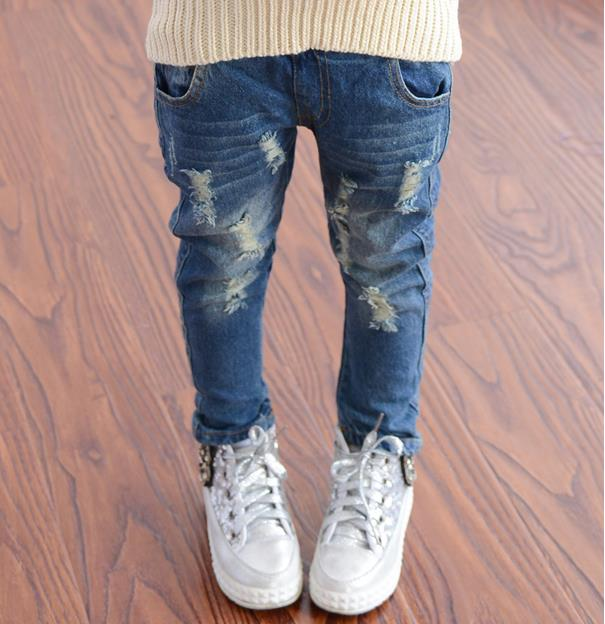 2018 Spring Autumn Baby Boys Girls Jeans Kids Broken Cool Washing Denim Pants Toddler Girls All Match Pants Children Clothes