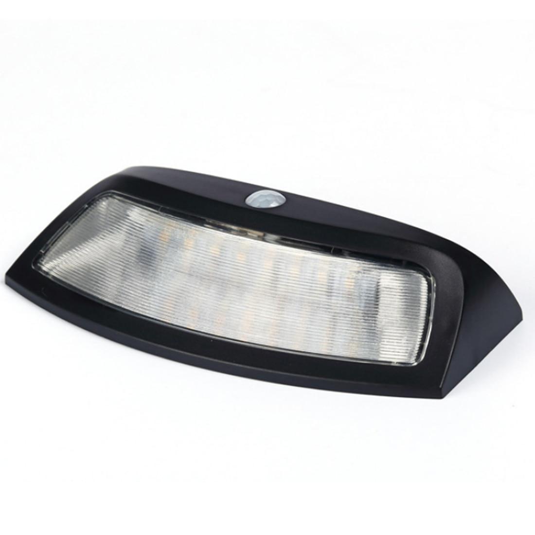 Free Shipping 8 LEDs Infrared Body Sensor Wall Fitting Solar Smile Light Staircase Lamp Garden Light (Cool White) - Black
