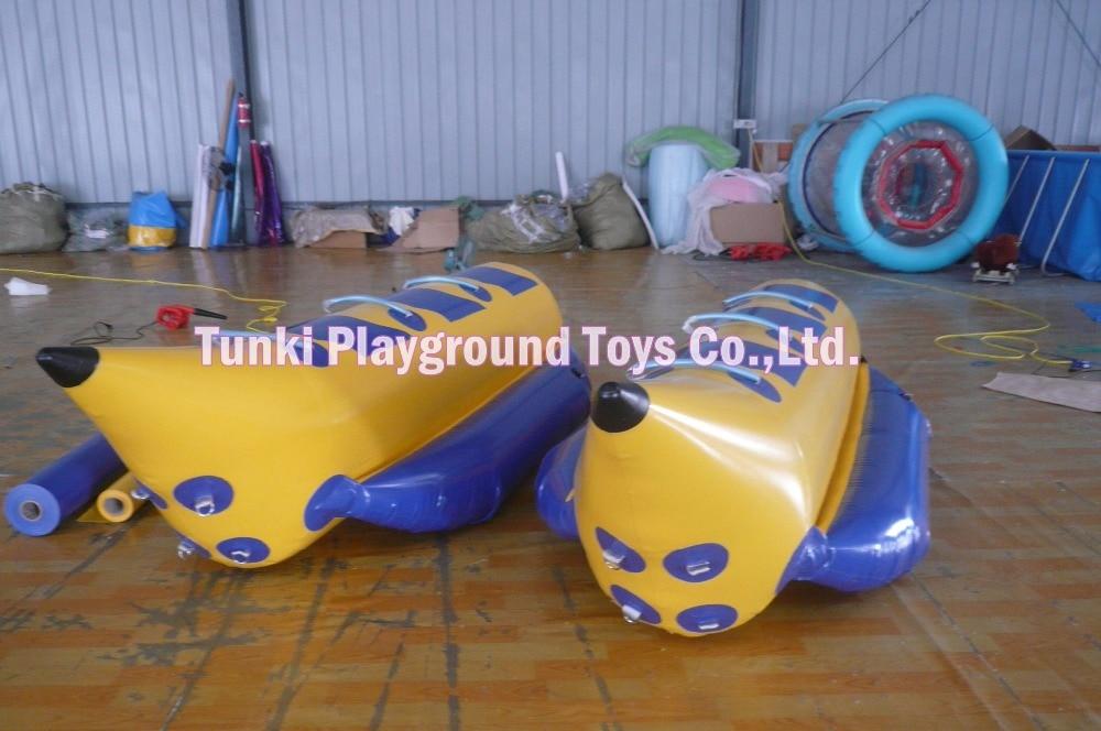 free shipping PVC tarpaulin 3 seats inflatable banana boat with air pump