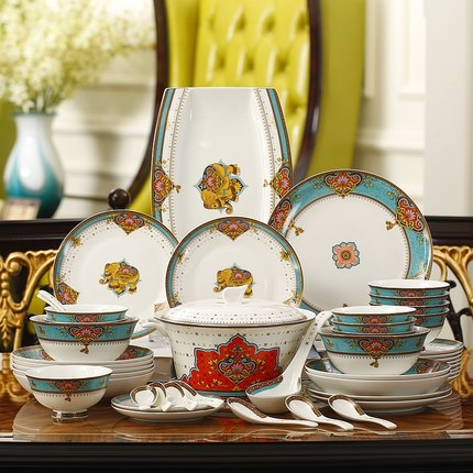 Whole set of bone china tableware 10 people eat rice bowls soup pot spoon ceramic dishes and plates sets Boutique dinner set