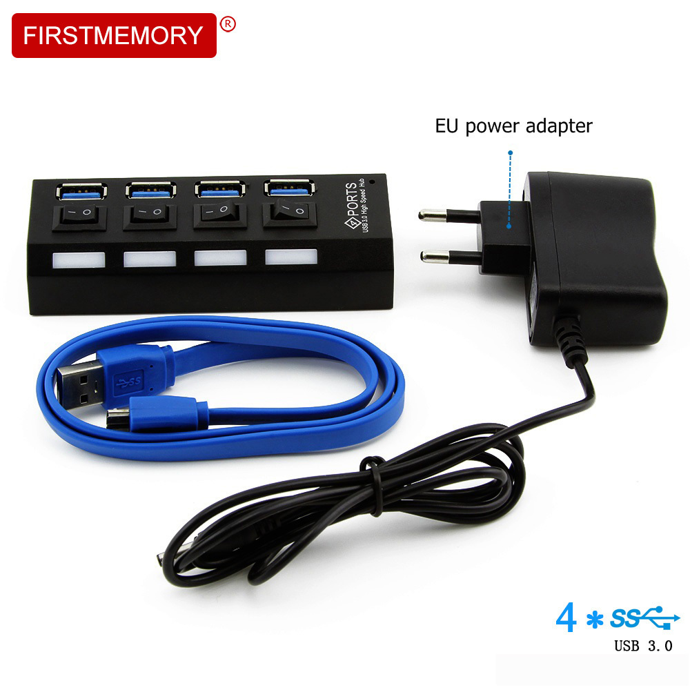 4 in 1 USB 3.0 HUB High Speed 4 Ports USB3.0 With DC 5V/2A Power Supply Independent Switche 5Gbps USB Splitter HUB For PC Laptop
