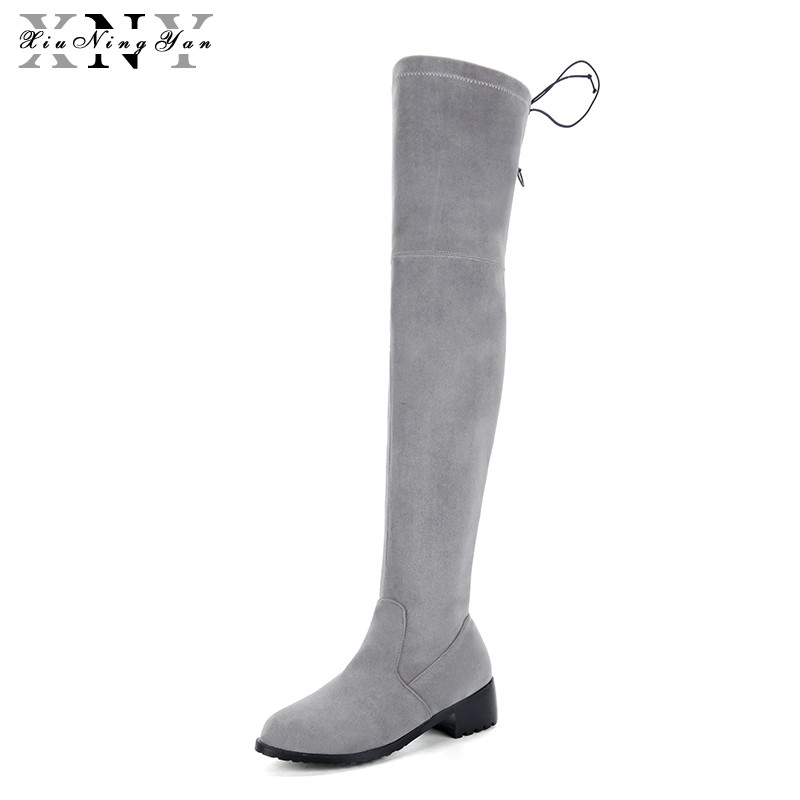XiuNingYan Big Sale Female Pointed Toe Solid Knee High Boots Charming Women Shoes Sexy Girls Slip-on Square Autumn Winter Boots